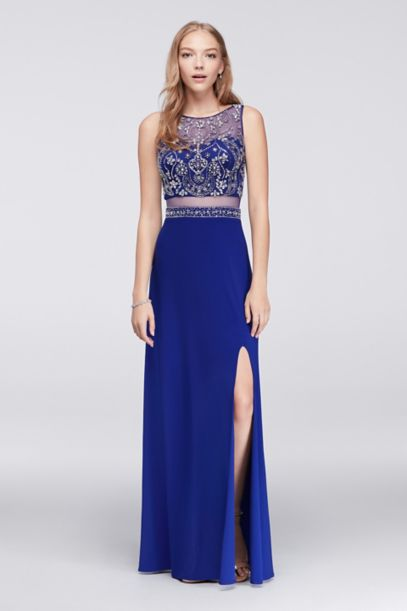 Beaded Faux Two Piece Dress With Illusion Back David S