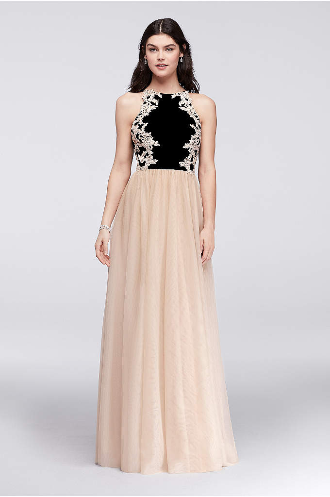 Appliqued Jersey and Mesh Ball Gown with Low - Corded lace appliques, studded with tiny crystals, add