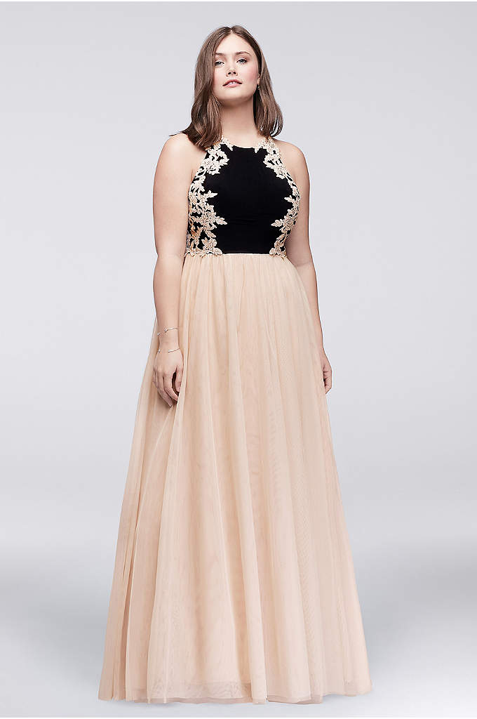 Appliqued Jersey and Mesh Plus Size Ball Gown - Corded lace appliques, studded with tiny crystals, add