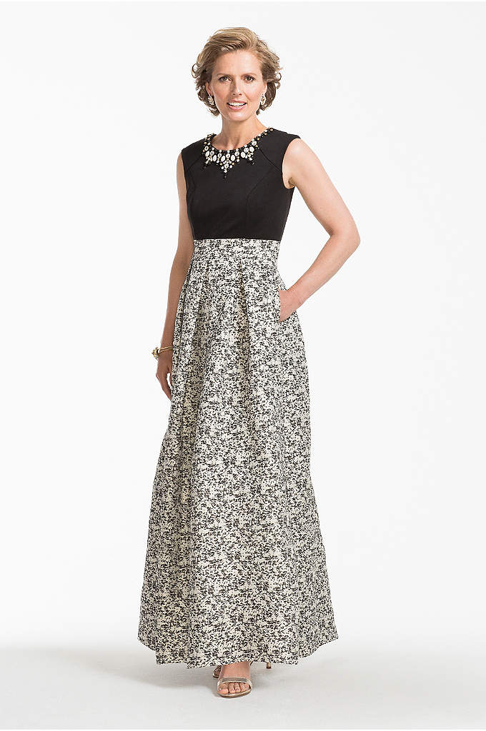 Long Cap Sleeve Brocade Ball Gown with Pockets - Modern and sophisticated, you will look exquisite in