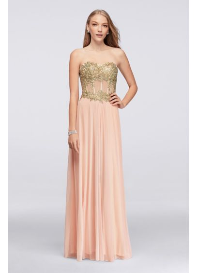 Long A-Line Strapless Formal Dresses Dress - Blondie Nites