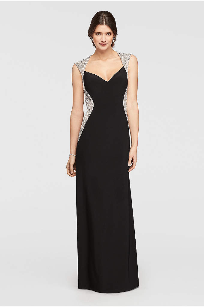 Cap Sleeve Jersey Dress with Beaded Details - On this fitted long dress, a sweetheart neckline