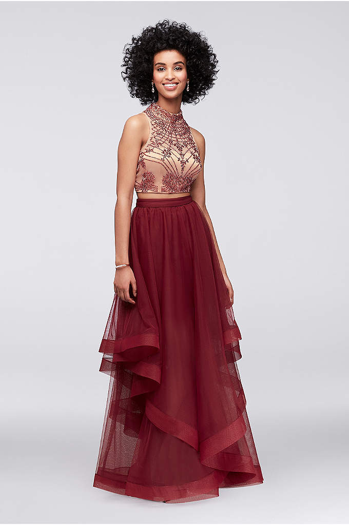 High-Neck Beaded Two-Piece Dress with Tulle Skirt - Art Deco-inspired beading takes this crop top and