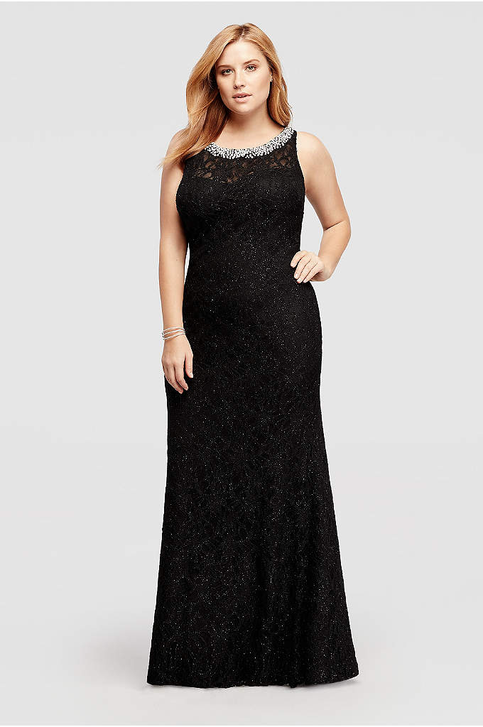 Allover Lace Long Dress with Beaded Neckline
