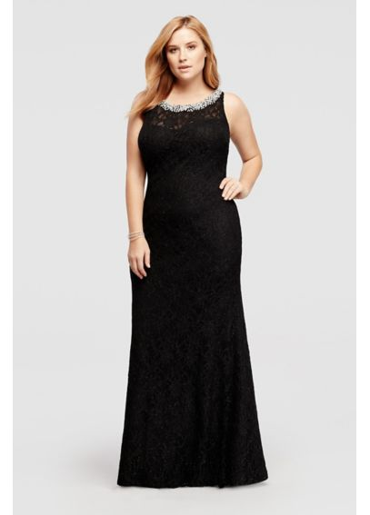 Allover Lace Long Dress with Beaded Neckline 57481W
