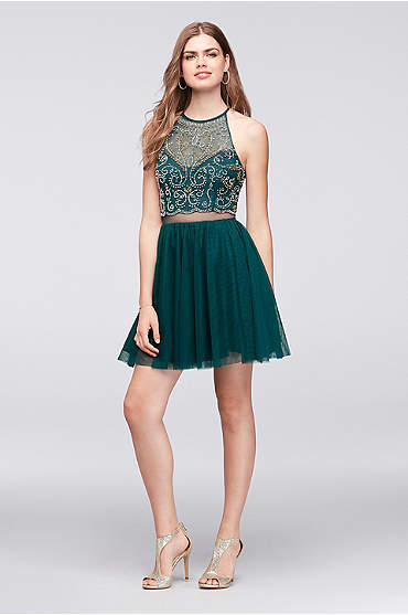 Beaded Illusion Halter Dress with Teardrop Back