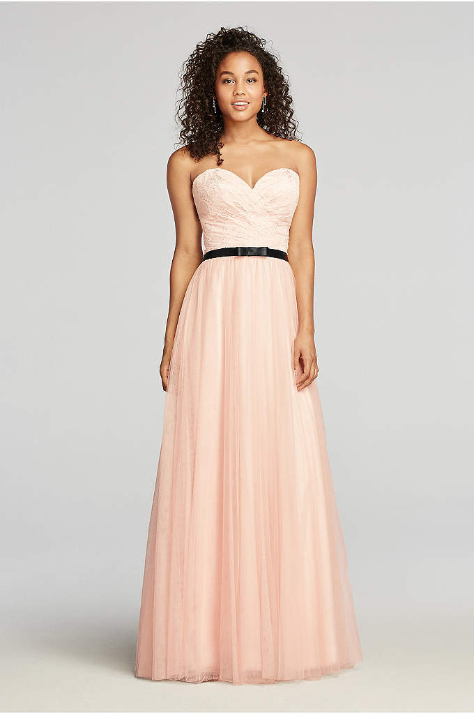 Strapless Tulle Prom Dress with Sash