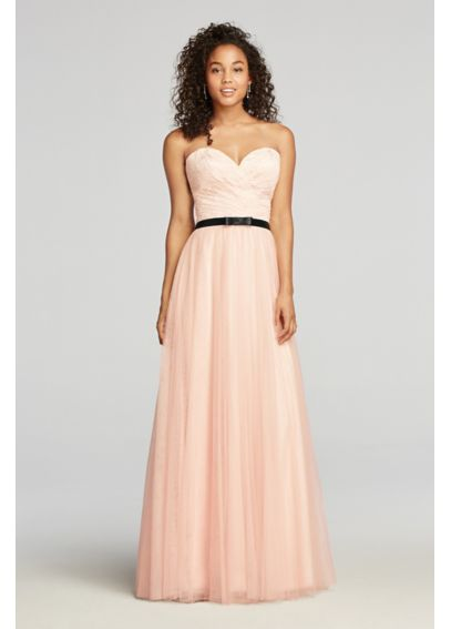 Strapless Tulle Prom Dress with Sash 57519D