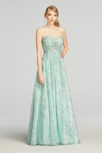 Strapless Glitter Tulle Prom Dress with Beading | David's Bridal