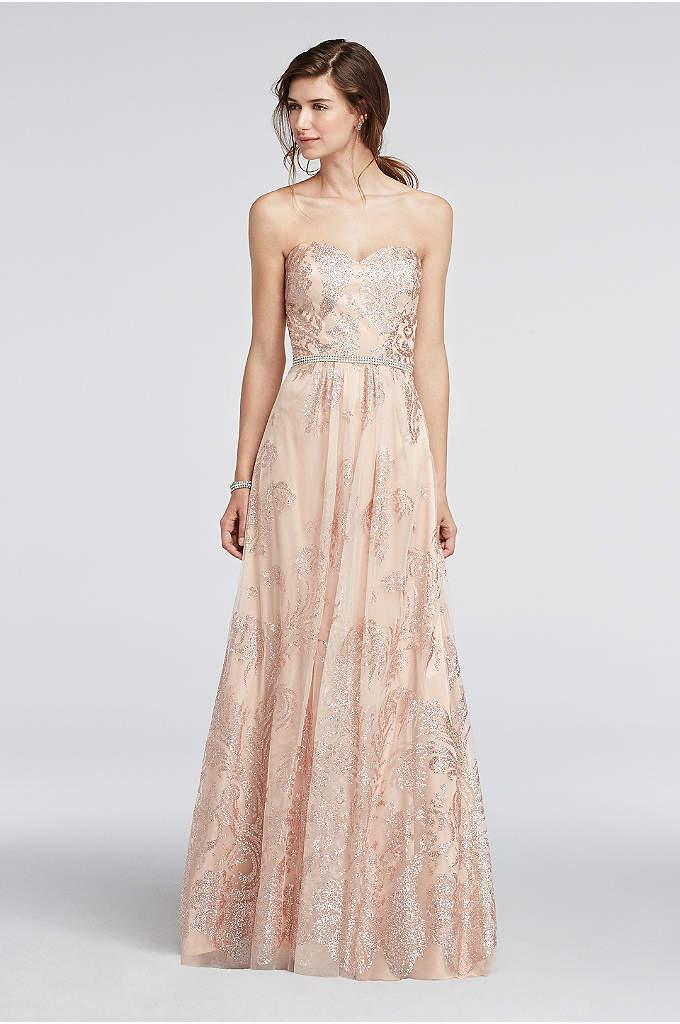 Strapless Glitter Tulle Beaded Waist Prom Dress