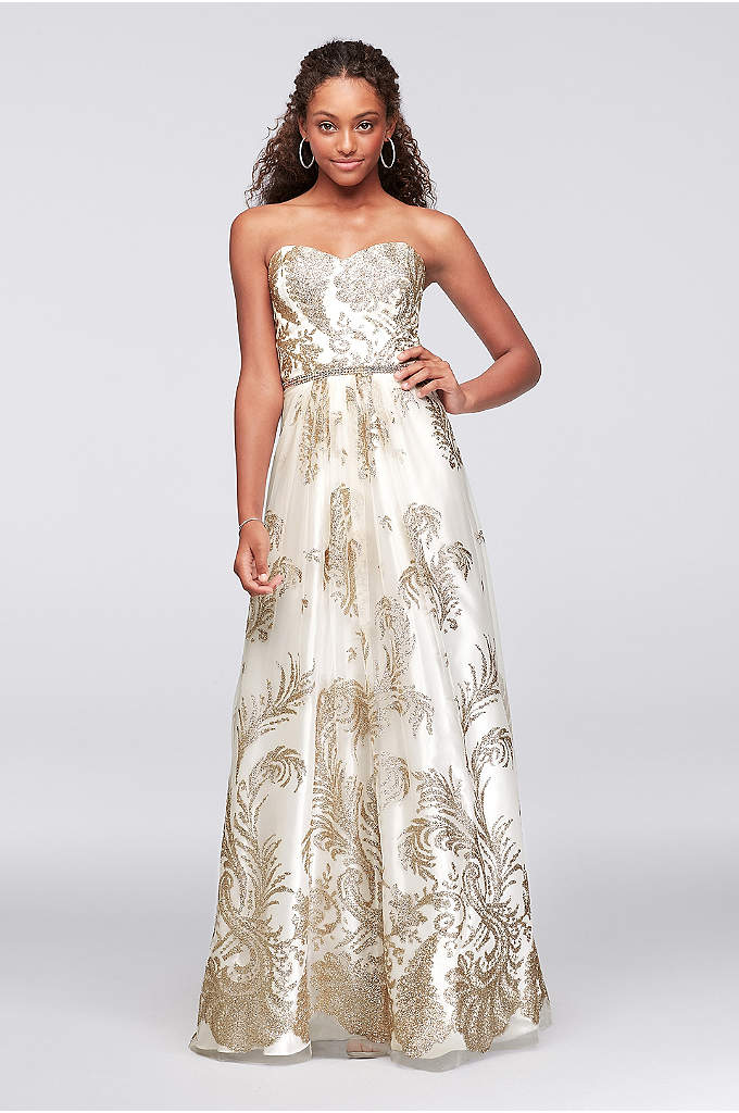 Glitter-Print Mesh Ball Gown with Beaded Waist - Branches of glittery leaves scatter across this mesh