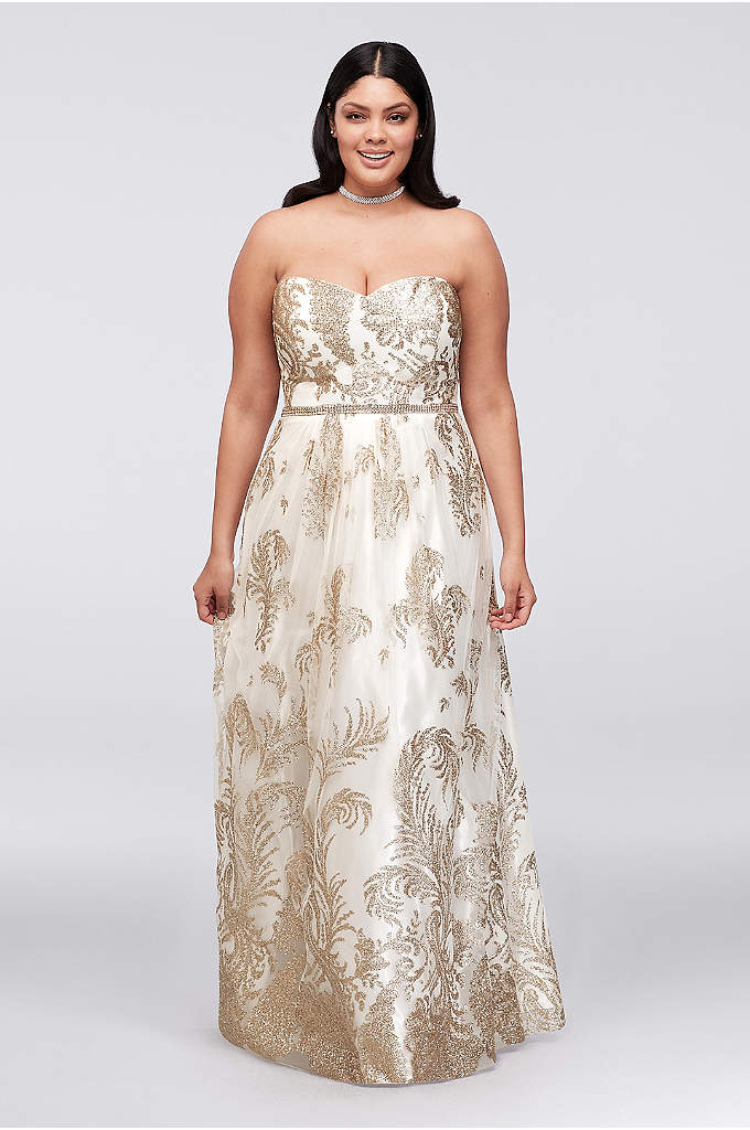 Glitter-Print Mesh Plus Size Gown with Bead Waist - Branches of glittery leaves scatter across this mesh