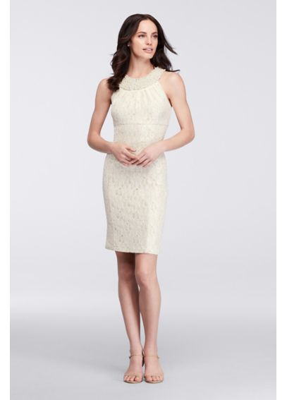 Glitter Lace Dress with Pearl Beaded Neckline 57674D