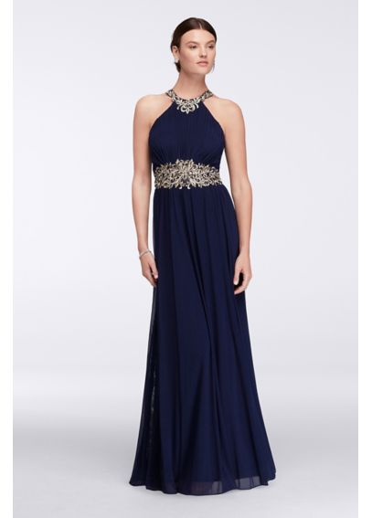 Halter Neckline Long Dress with Embroidered Waist 57752D
