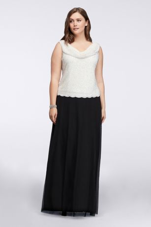 Floor Length Gown with Caviar Beaded Cowl Neckline | David's Bridal | Tuggl
