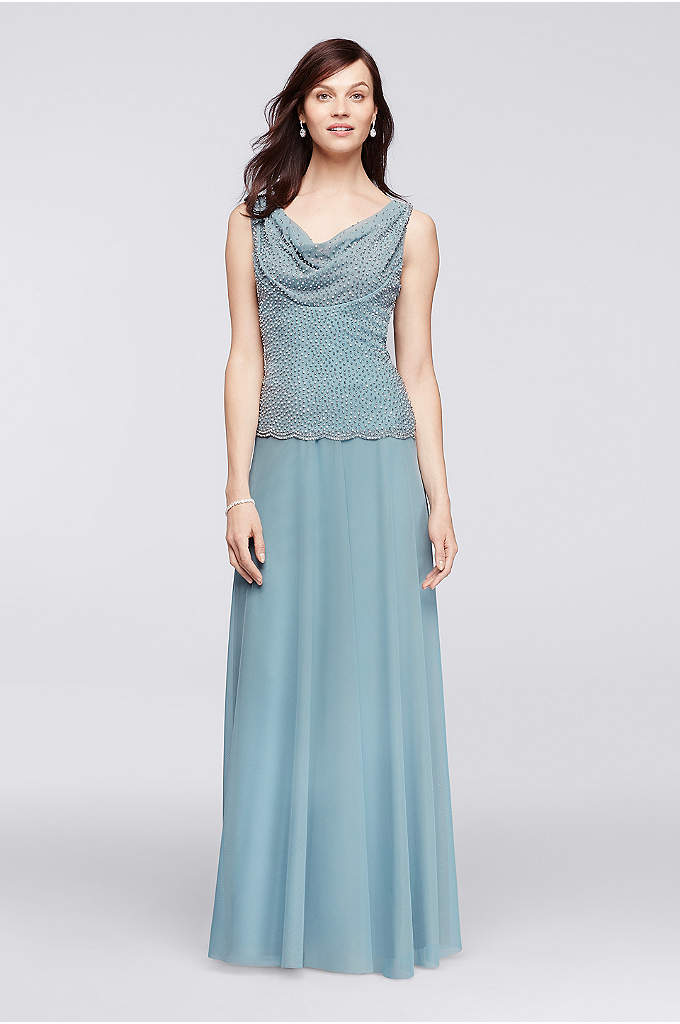 Floor Length Gown with Caviar Beaded Cowl Neckline - With its floor-length skirt and slimming drop-waist bodice,