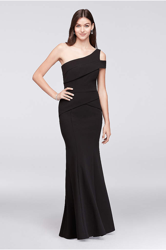 Stretch-Crepe One-Shoulder Gown with Cutout Detail - So refined, this stretch-crepe mermaid dress is as