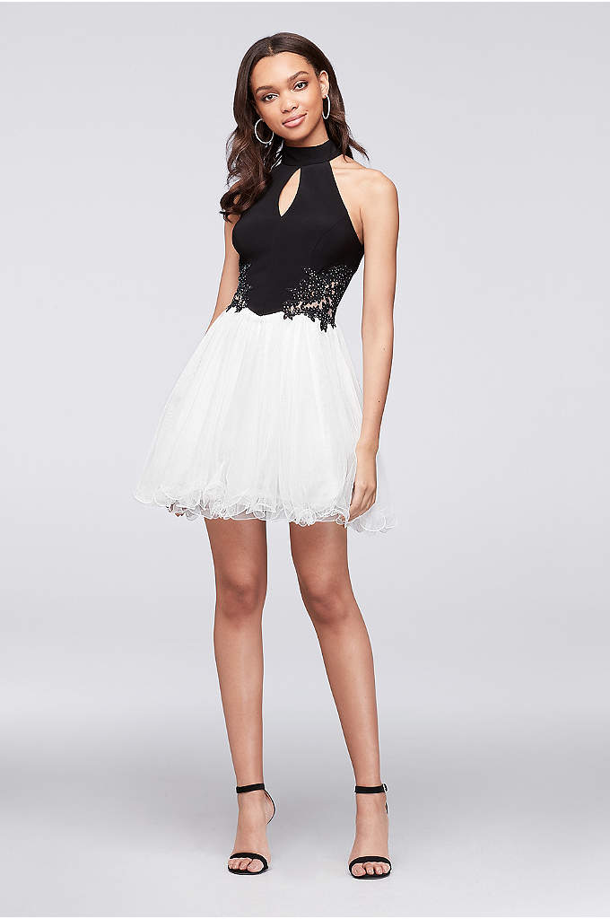 High-Neck Beaded Jersey and Mesh Party Dress - The high-impact combo of black jersey and airy
