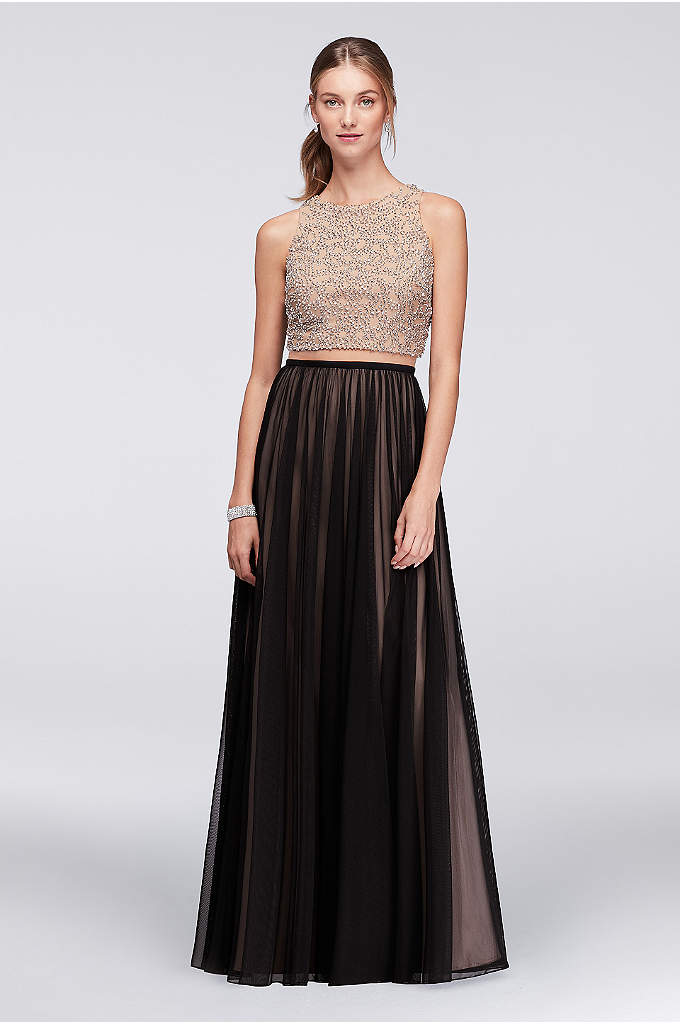 Beaded Bodice Mesh Dress with Illusion Inset - Reveal a hint of skin in this party-ready