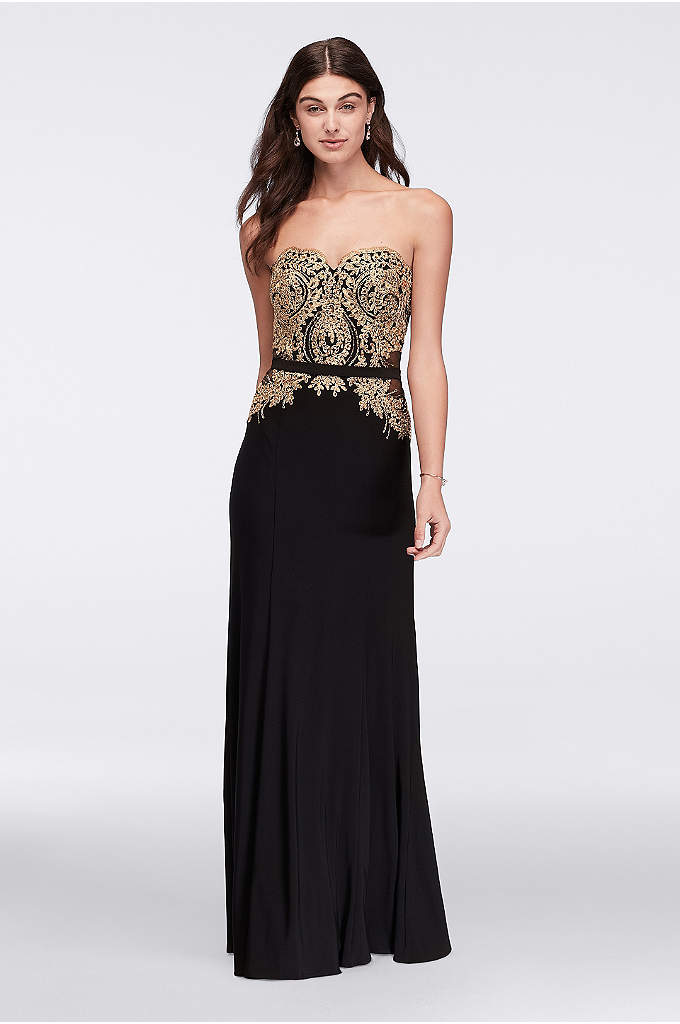 Metallic Lace and Mesh Long Strapless Dress - Davids Bridal