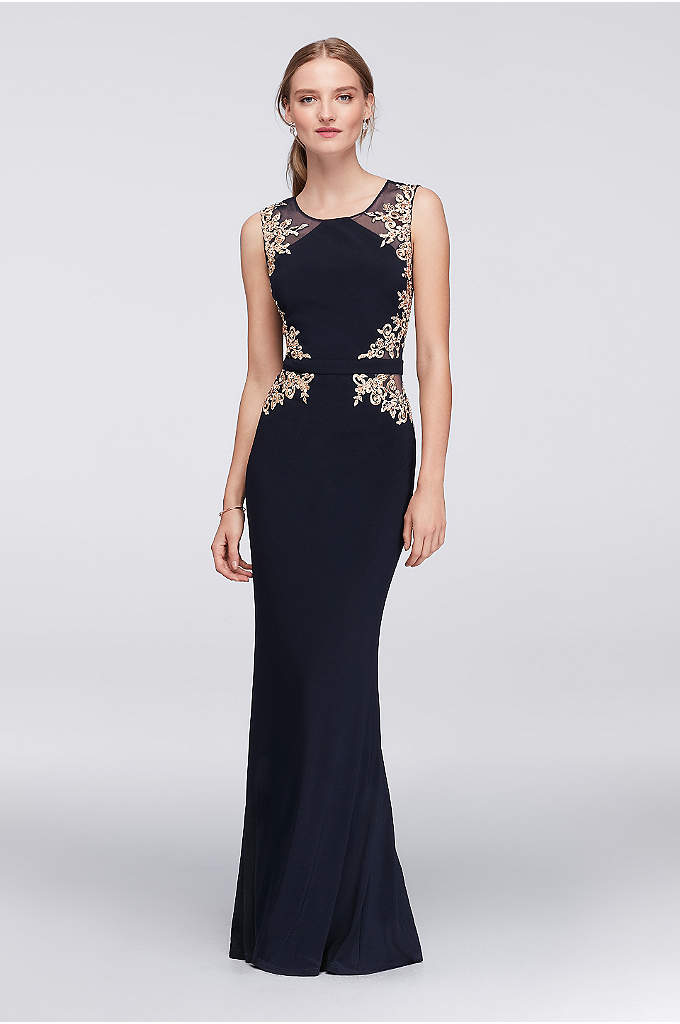 Embroidered Illusion Sheath Dress with Open Back - Festive and statement making, this gorgeous, matte jersey
