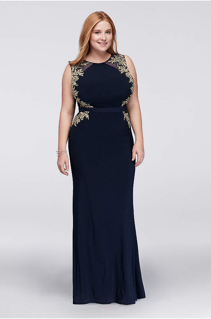 Illusion Sheath Plus Size Dress with Embroidery - Festive and statement making, this gorgeous plus size