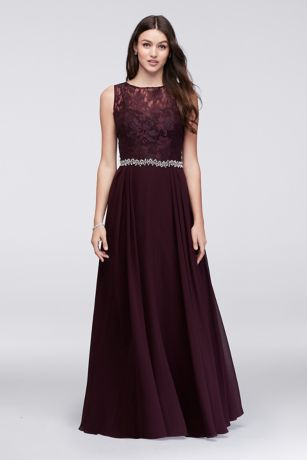 Evening dress velvet top lace bottom