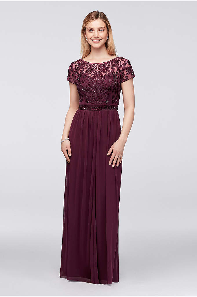 Crystal-Embellished Cap-Sleeve Chiffon Gown - This gown is as gorgeously detailed as it
