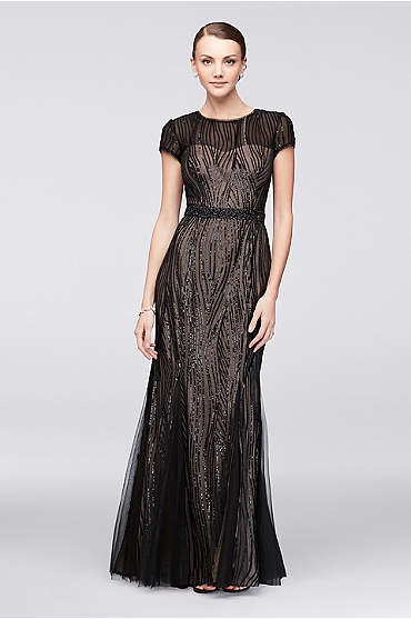Linear Sequin Short Sleeve Gown with Beaded Waist