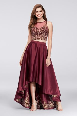 Embroidered Satin High-Low Two-Piece Ball Gown - Unexpected embroidery on the underside of this satin