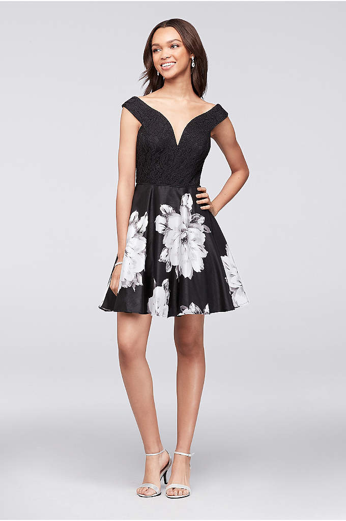 Off-the-Shoulder Sweetheart Fit-and-Flare Dress - Flirty and flattering, this lace and floral shantung