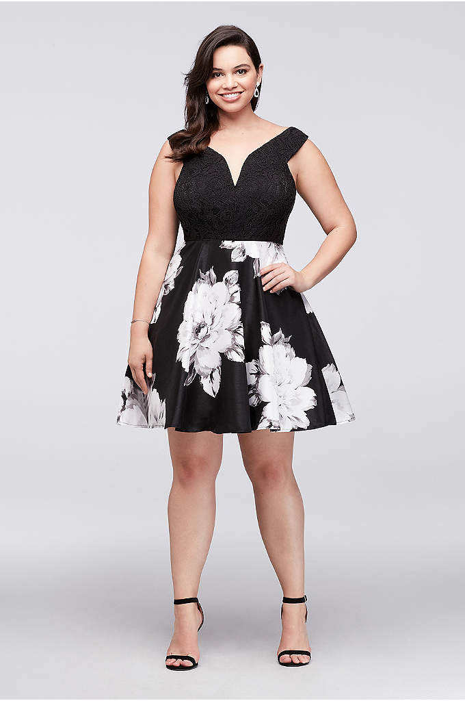 Off-the-Shoulder Sweetheart Flare Plus Size Dress - Flirty and flattering, this lace and floral shantung