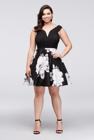 Off white cocktail dress mid length plus size
