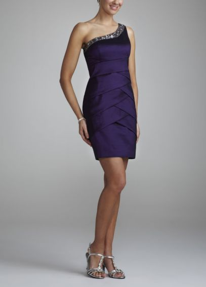 One Shoulder Taffeta Dress with Beaded Neckline 58870