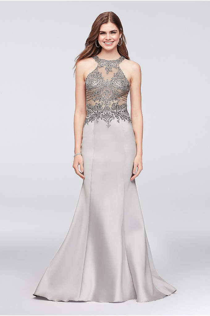 Beaded Illusion Bodice Mikado Mermaid Gown - Allover silver embroidery and pewter beading adds dazzle