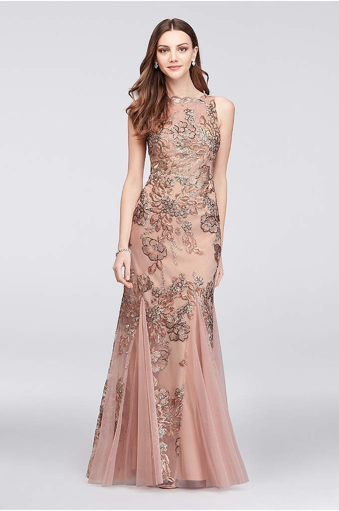 Embroidered Floral Sequin Mesh Mermaid Gown - Gorgeous sequin flora, traced with metallic embroidery, shines