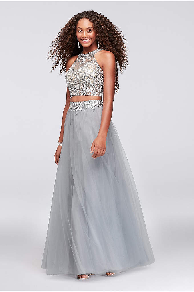 Corded Lace and Tulle Two-Piece Ball Gown - Metallic corded lace appliques give floral detail to