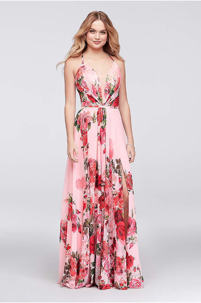 Slit Skirt Floral Chiffon A-Line Gown - How romantic! This flowing, pleated chiffon gown is