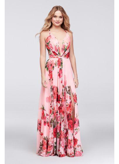 Slit Skirt Floral Chiffon A-Line Gown   David\'s Bridal