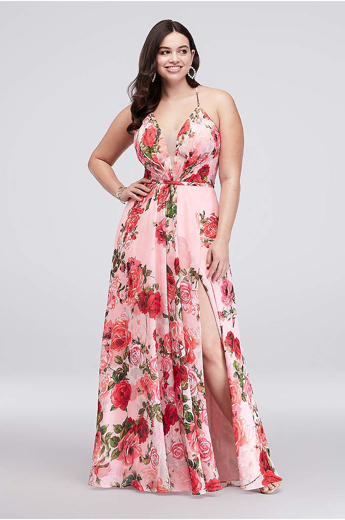 Slit Skirt Floral Chiffon A-Line Plus Size Gown - How romantic! This flowing, pleated, plus-size chiffon gown