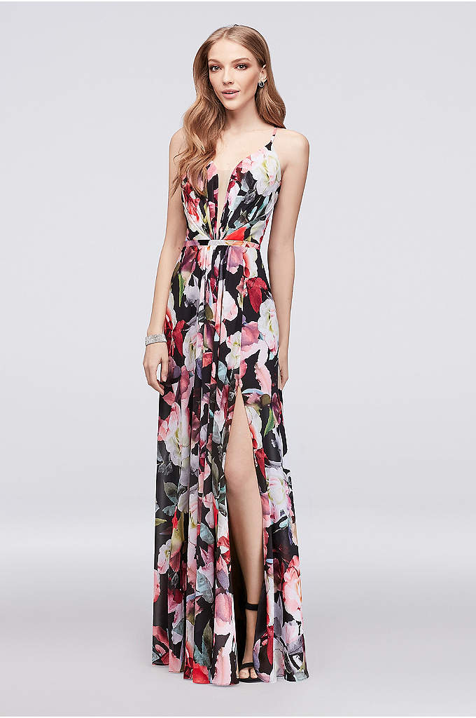 A-Line Floral Chiffon Gown with Slit Skirt - This flowing, pleated chiffon gown is covered in