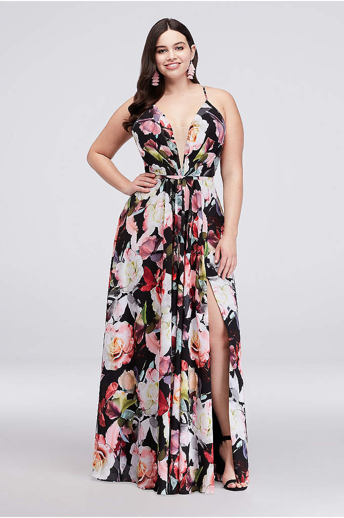 A-Line Floral Chiffon Plus Size Gown with Slit - This flowing, pleated chiffon plus-size gown is covered