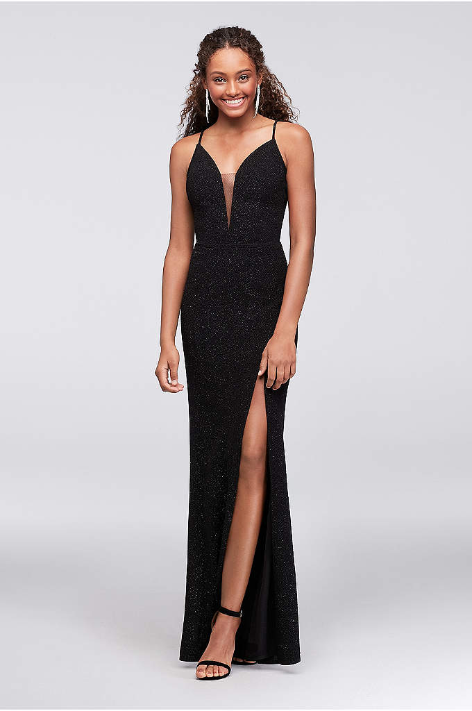 Glitter Knit Sheath Dress with Illusion Plunge - Make a statement coming and going in this