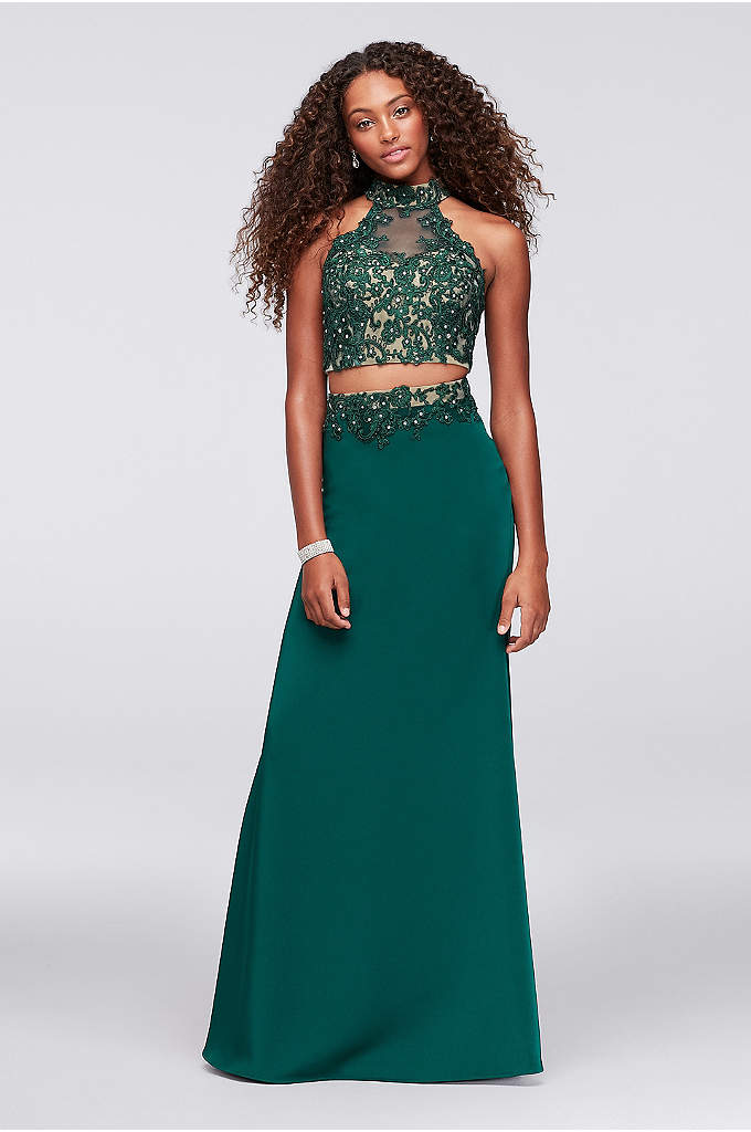 Corded Lace and Jersey Two-Piece Mermaid Dress - Corded lace appliques give floral detail to the