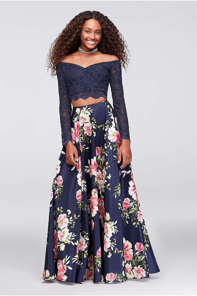 Off-the-Shoulder Lace and Shantung Two-Piece Dress - A fun combo of scalloped glitter lace and