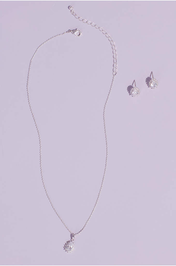 Almond Cubic Zirconia Necklace and Earring Set - A perfectly matched pairing, this necklace and earrings