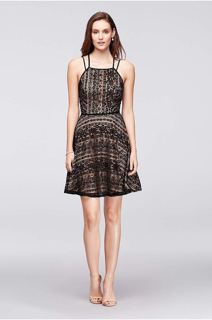 Linear Lace Fit-and-Flare Dress with Double Straps - Sleek piping forms the double straps and traces