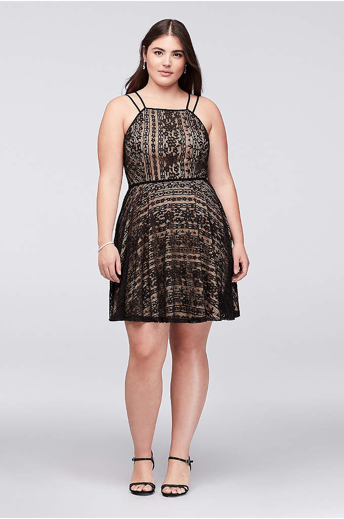 Double Strap Lace Fit-and-Flare Plus Size Dress - Sleek piping forms the double straps and traces