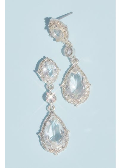 Filigree and Crystal Drop Earrings - Wedding Accessories