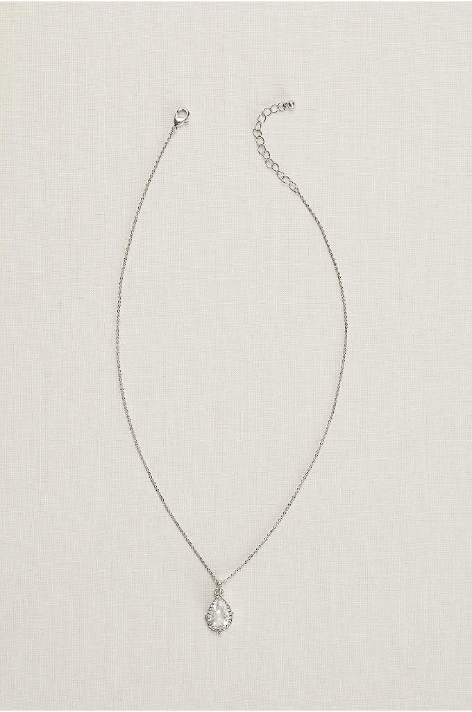 Pear Stone Necklace - A delicate halo surrounds the sparkling pear-shaped pendant